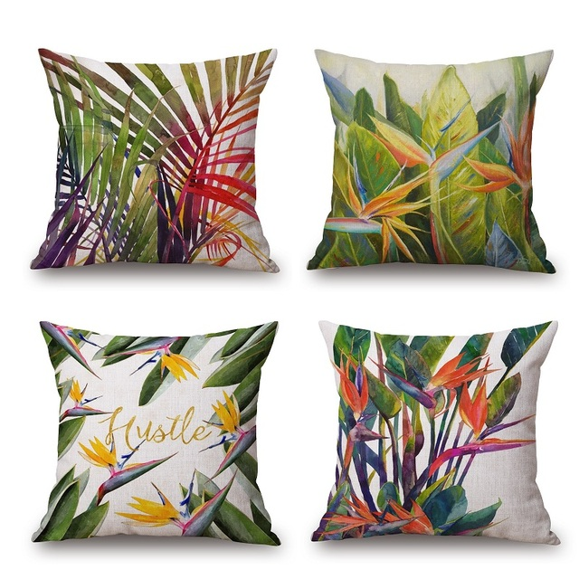 Tropical Palm Leaf Cushion Cover Summer Pillow Case 45x45cm Thin Linen Cotton Covers Bedroom Sofa Decoration
