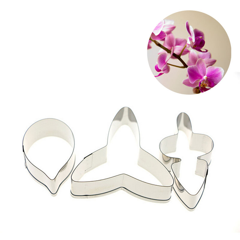 3pcs/set DIY Orchid Pattern Fondant <font><b>Flower</b></font> Petal Bakeware Cookie <font><b>Cutter</b></font> Phalaenopsis Moth Mold Mould <font><b>Cake</b></font> <font><b>Decorating</b></font> <font><b>Tools</b></font> image