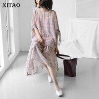 [XITAO] Coreia Do Verão 2018 New Casual Loose Women Tops Sem Alças Feminino Mid-Calf Vestido Floral Padrão de Impressão Twinset KZH145
