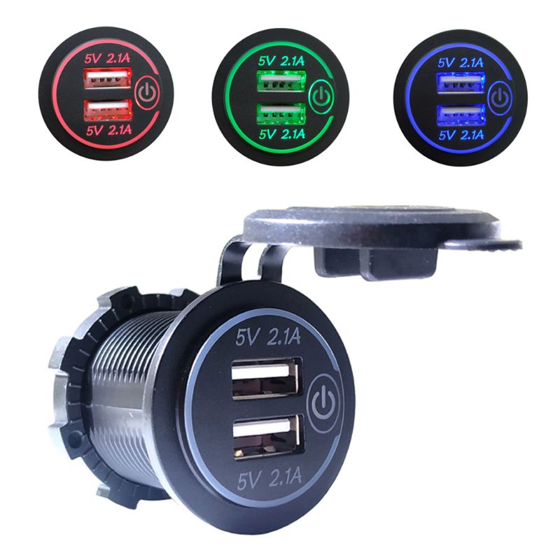 12V 24V Dual USB 2.1A LED <font><b>Car</b></font> <font><b>Charger</b></font> <font><b>Adapter</b></font> With Touch ON OFF Switch <font><b>Power</b></font> Cable For <font><b>Car</b></font> Boat Marine Truck Motorcycle Camper V image