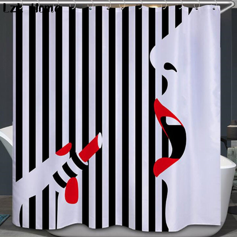 LzL Home New Fashion Waterproof Sexy Girl Shower Curtain Eco-friendly Washable Bath With Hock Bathroom Curtain For Home Decor
