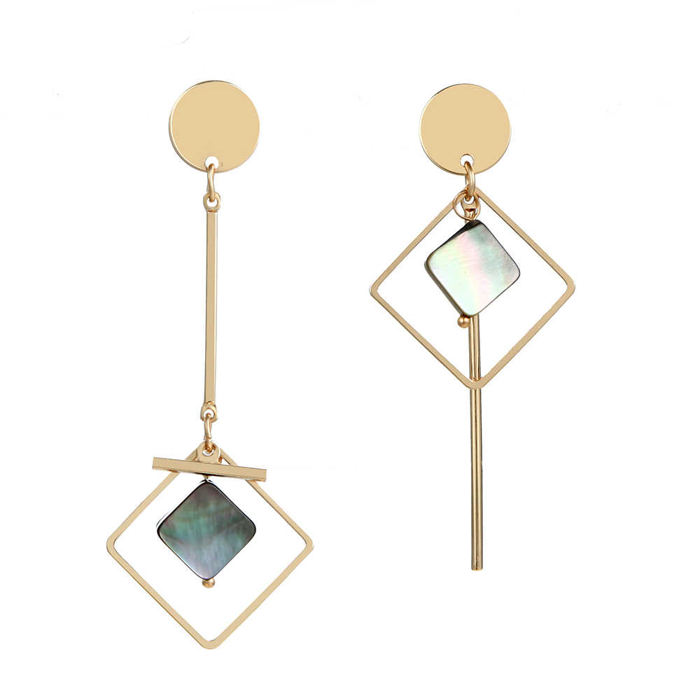 Geometric Rhombus Asymmetry Shell Metal Rod Long Tassel Dangle Drop Earrings For Women Earings Fashion Jewelry Brincos Oorbellen
