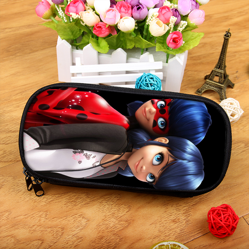 Miraculous Ladybug Marinette Boy Girl Cartoon Pencil Case Bag School Pouches Children Student Pen Bag Kids Purse Wallet стоимость