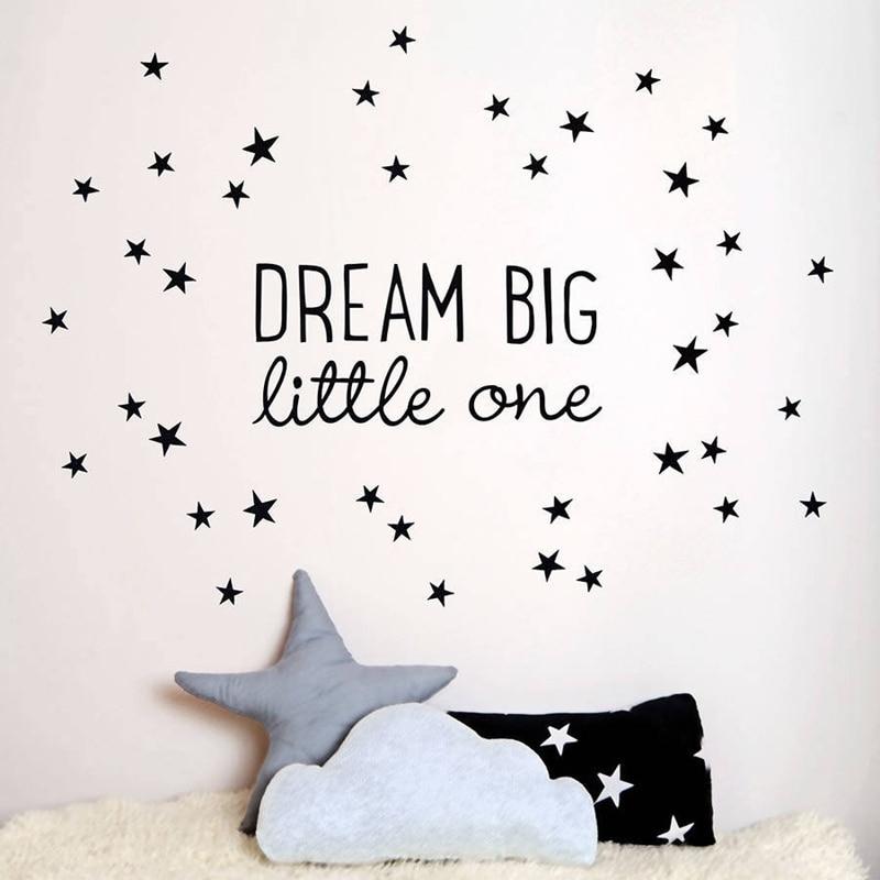Dream Big Little One Nursery Stars Vinyl Wall Art Stickers