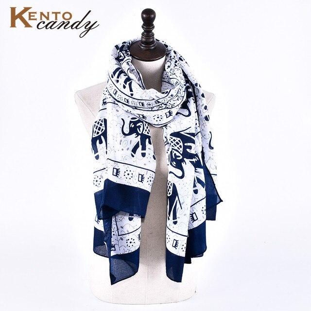[KentoCandy] Navy Elephant pint winter scarf women bandana poncho echarpe blanket scarf christmas gift echarpe hiver femme shawl