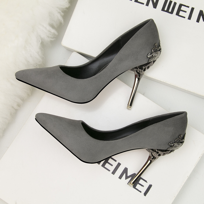 60faadebad US $10.43 15% OFF|Solid Golden Black Shoes Fashion Sexy Pointed Toe Women  High Heels Shoes Flock Metal Heel Party Wedding Shoes Women's Pumps Work-in  ...