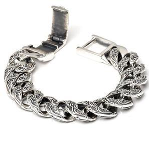 Image 1 - Czyste srebro S925 ciężki gruby rzeźbiony Link Chain Flat crosss bransoletka lite srebro bransoletka srebro 925 biżuteria srebrna