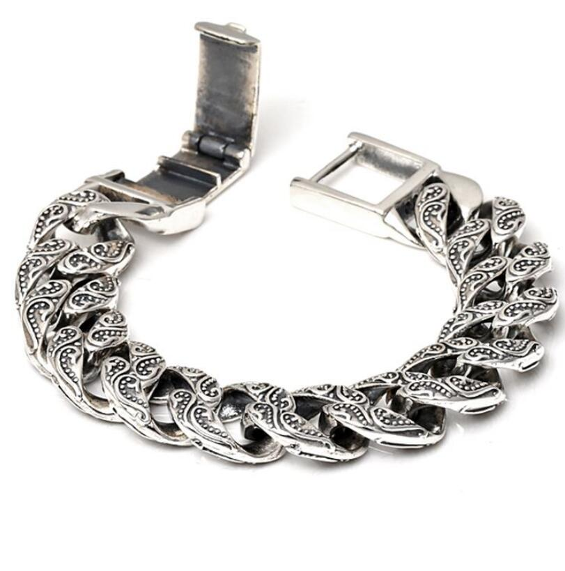 Pure Silver S925 Heavy Thick Carved Link Chain Flat Chross Bangle Solid Silver Bracelet Sterling 925 Silver Jewelry