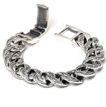 Saf gümüş S925 ağır kalın oyma Link zinciri düz Chross bileklik katı gümüş bilezik 925 gümüş takı