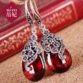 Verde semi-pedras preciosas naturais de Seda Princesa Flor Do Vintage 925 Prata Jade vermelho Brincos de mulheres de jóias artesanais