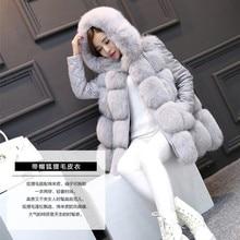 Faux Fur Vest 2016 Winter Warm New Fox Fur Hooded Faux Fur Coat RED/GRAY/BLACK/mex Women Artificial Fur Jacket S/XXXL