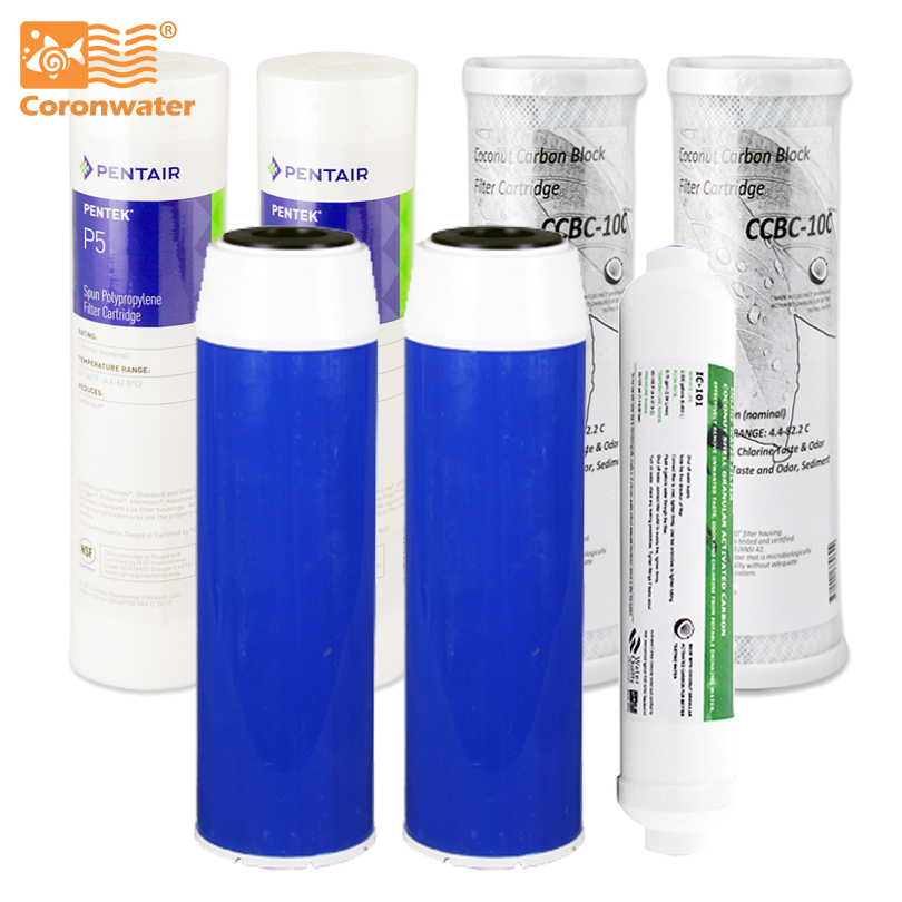 Coronwater Water Filter Cartridge Replacement Set One Year Filter Kit with for Water Filter System F-1002 replacement filter one prefilter and one carton filter