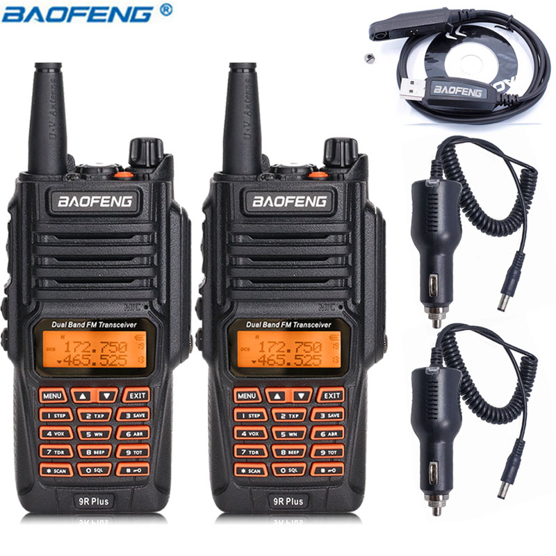 2PCS Baofeng UV 9R Plus Walkie Talkie 8W High Power UHF VHF Dual Band IP67 Waterproof