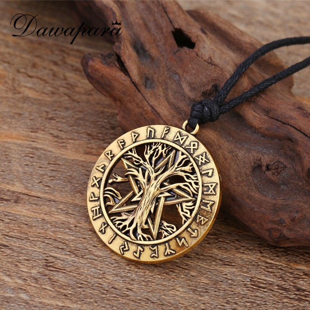Dawapara Viking Jewelry Runes Tree Of Life Wiccan Pentacle Star Circle Pentagram Necklace circle
