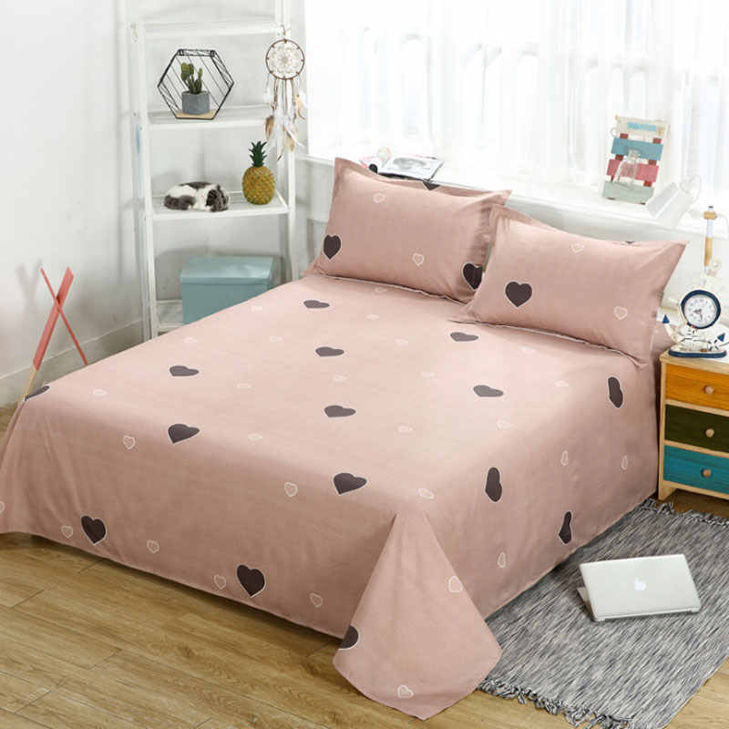 Zkaijia Single Double Bedclothes Skin Care Flat Sheet pink Love  Bed cover cartoon Bed Linens Four Seasons sheet Plaid Mattress