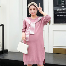 Maternity wear autumn and winter new Korean loose dress women spring autumn long pregnant women sweater fashion strip Fat sister