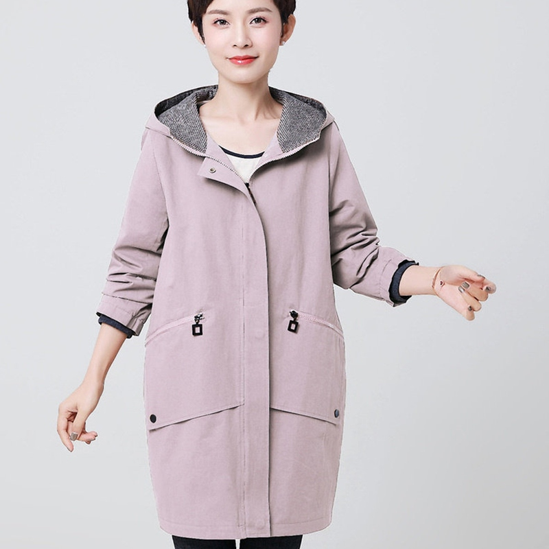 2019 New arrival spring 100 cotton long trench coat for women fashion green ladies outerwear plus size 4xl female overcoat tops in Trench from Women 39 s Clothing