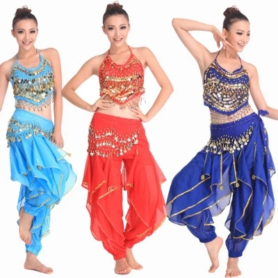 3stk / set Coin Belly Dance Costume Triba Gypsy Costume Indian Dress Bellydance Dress Women Belly Dancing Costume Sets Tribal