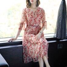 Flowing Red Polka Dot Dress Chiffon 2019 Summer Party Night Dresses Tunic Loose Midi Robe Elegant Vintage Vestidos Clothing