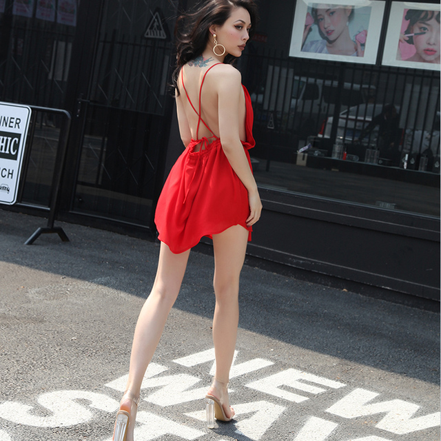 ec97fbae8b2a 2017 Summer Very Sexy Spaghetti Straps Backless Dress Chiffon Fabric Thin  Elastic Waist Short Dress Empire Waist One Size