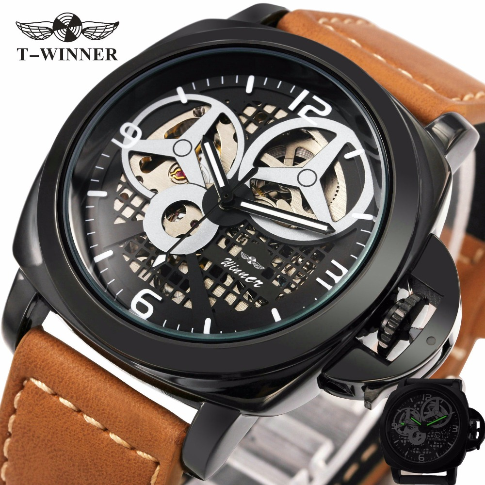 2017 New Black Men s Skeleton Watch Italy Antique Brown Genuine Leather Strap Automatic Skeleton Military