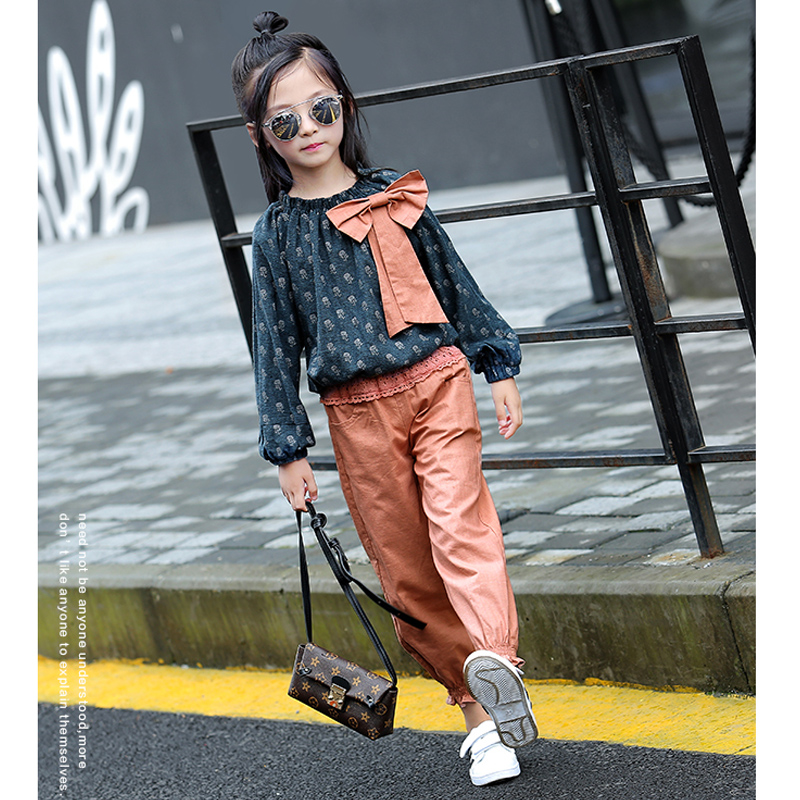 Hot Sale Spring 2017 Fashion Cotton Print Baby Girls Clothing Set 2PCS Kids Girls Clothes Suits Bow Pullover +Solid Pants OT32 2016 spring girls clothes girls clothing sets new arrival female child flower print o neck pullover short skirt set baby twinset