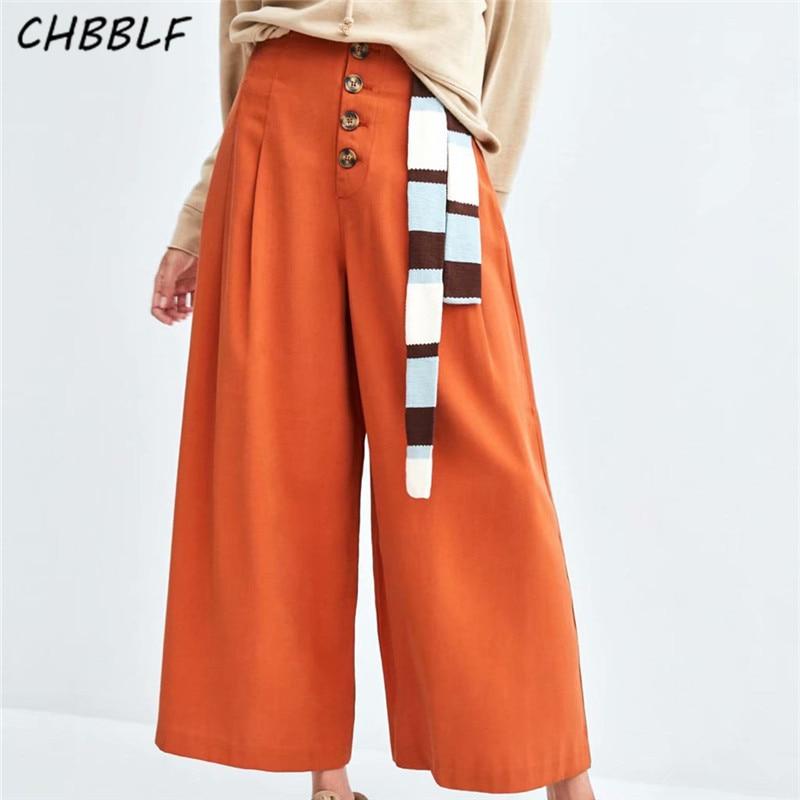 CHBBLF women casual   wide     leg     pants   elastic waist button fly design female streetwear chic trousers XDL1542