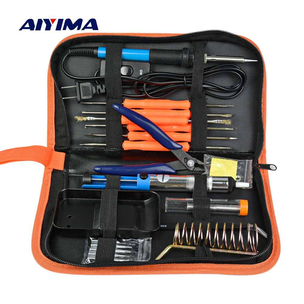 Aiyima AC 110V 220V 60W Electric Soldering Iron Kit Repair Tools Adjustable Temperature Welding Hand Tool Sets EU US Plug