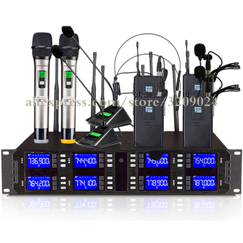 DJ Stage Karaoke Church Conference UHF 8 Channel Radio Wireless System with Desktop Meeting Handheld Microphone or Lavalier Mic