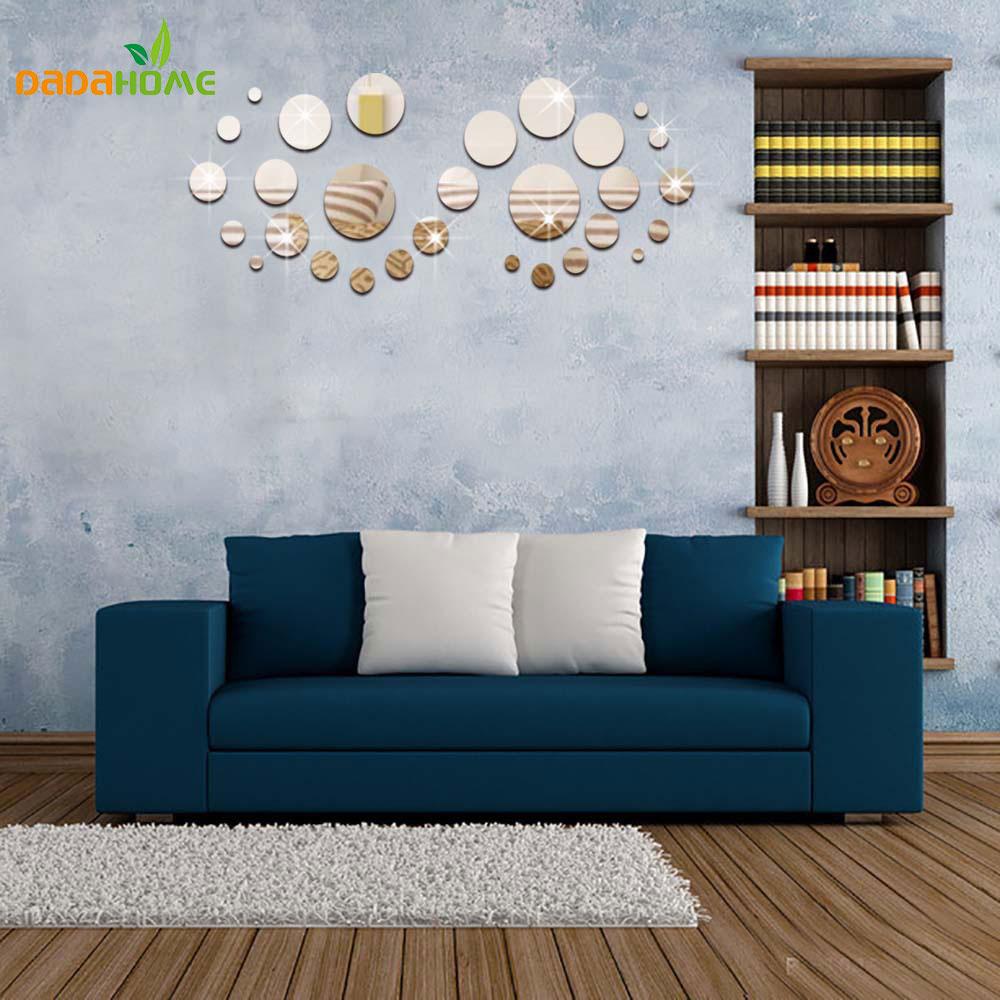 d fondo circular de acrlico adhesivo espejo decorativo pegatinas de pared para cuartos de los