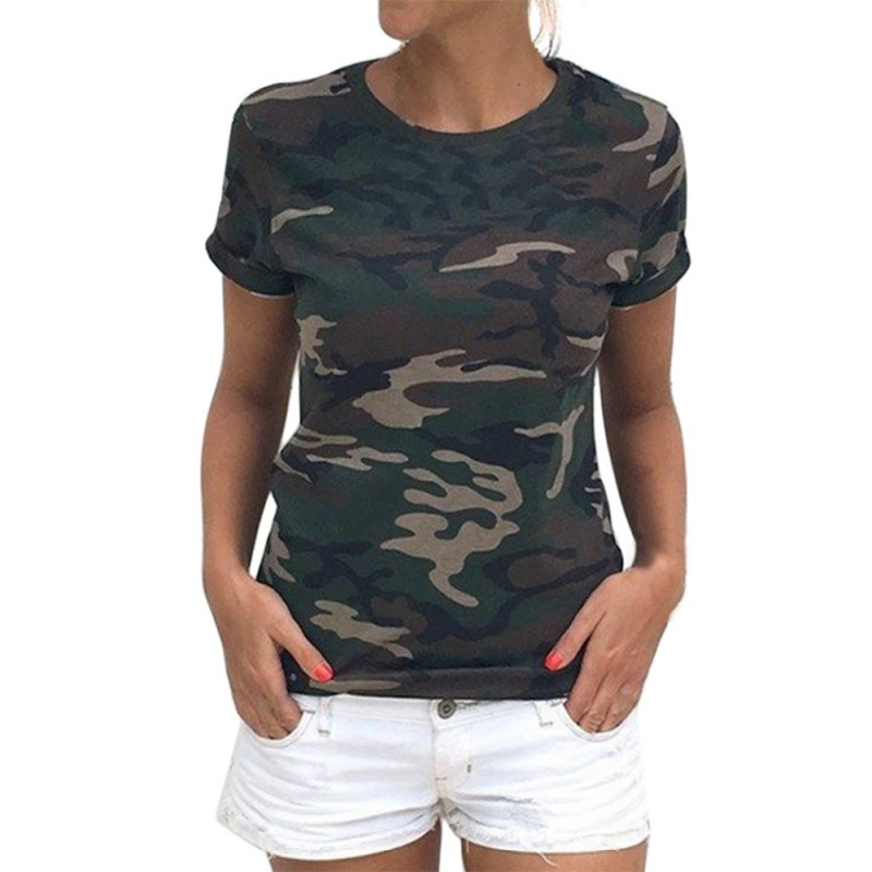 fac78a1e6c Camouflage nyári pólók Női O-nyakú póló Casual rövid ujjú felső póló ...
