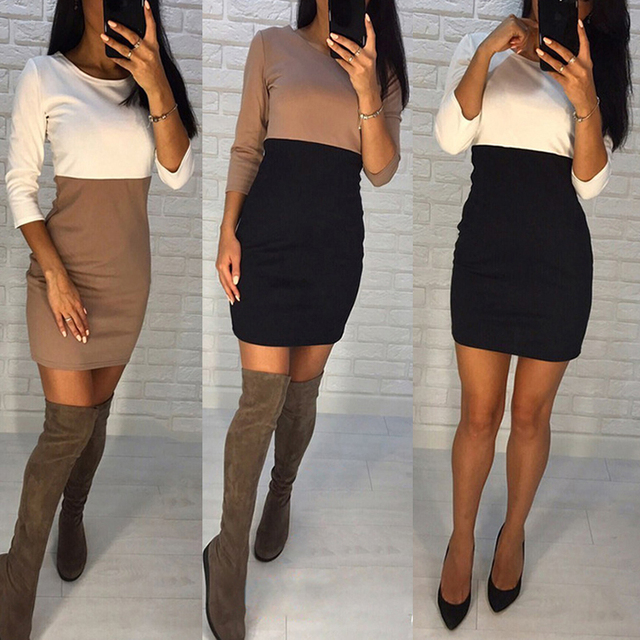 AiiaBestProducts - Autumn Summer Women Office Lady Patchwork Dresses 5