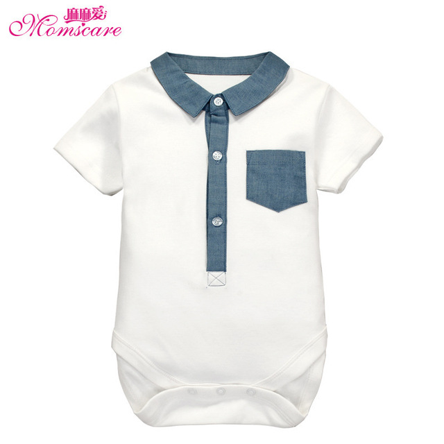 Momscare 2016 Baby Bodysuit Short Sleeves Turn-Down Collar Boy's Jumpsuit Infant Overalls Kids Clothing Child Clothes