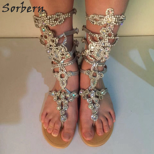 a few days away cute cheap buying now Sorbern Silver Rhinestones Gladiator Sandals Women Flat Heels Real ...