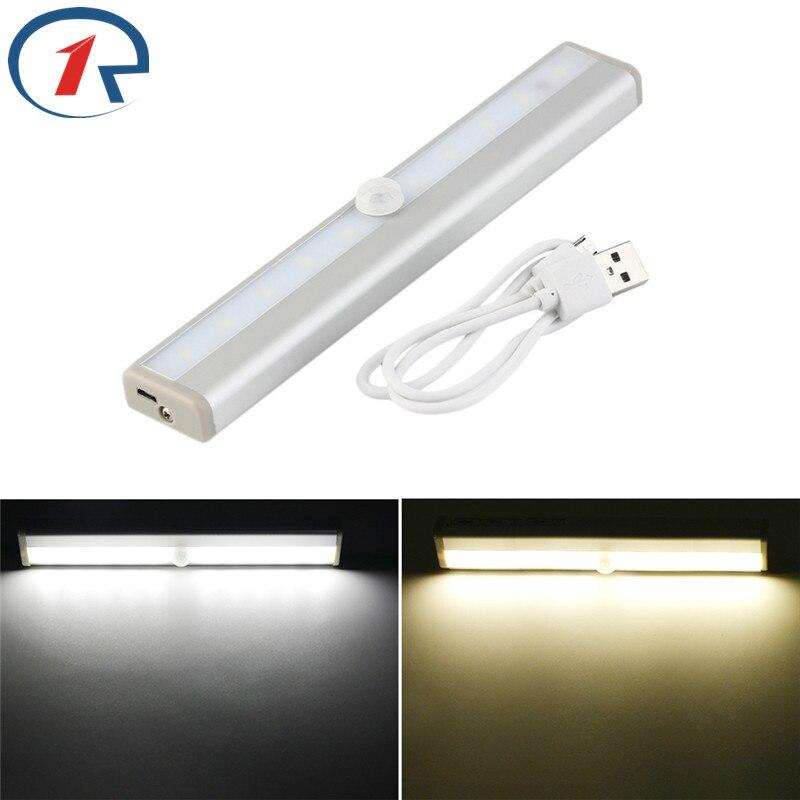 цена на ZjRight Led Tube lamp USB Rechargeable battery PIR sensor cabinet  Auto Motion Kitchen bedroom Wardrobe indoor Stair night light