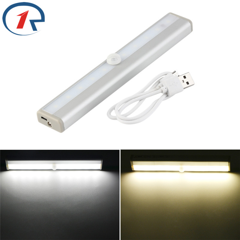 ZjRight Led Tube lamp USB Rechargeable battery PIR sensor cabinet Auto Motion Kitchen bedroom Wardrobe indoor Stair night light