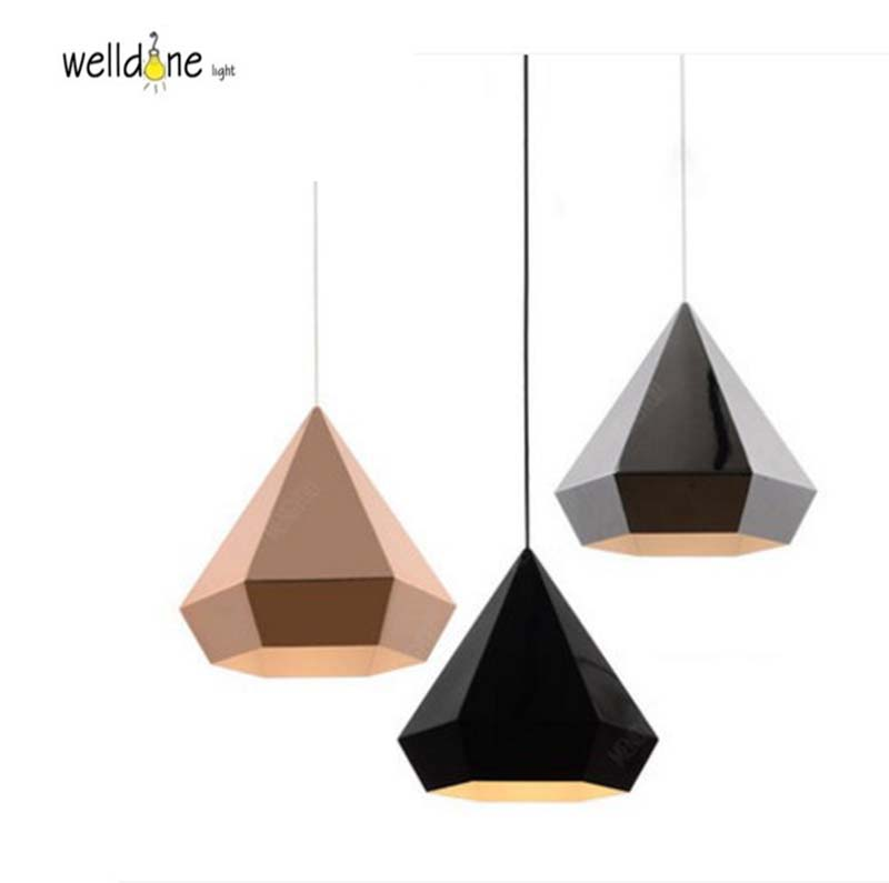 Черное золото хром алмазной пирамиды шестигранной формы подвесной светильник для Обеденная Ресторан Спальня геометрический гостиная ламп