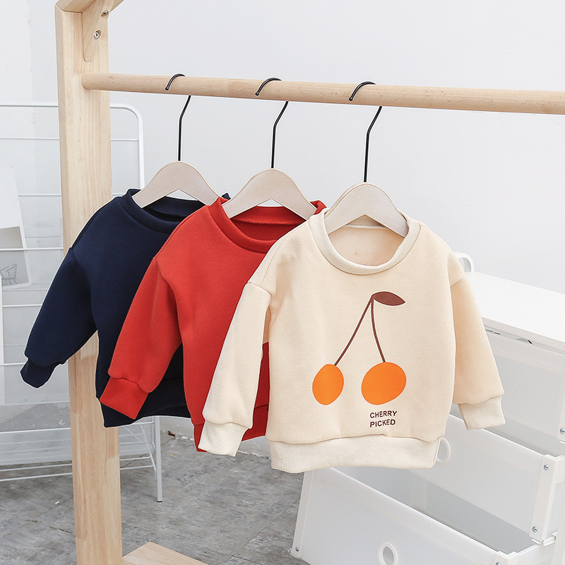 2018 Autumn Winter Kids Clothes Long Sleeve T-shirt Cartoon Cherry Printed Baby Boys Sweatshirts Infant Girls Fleece Tees Tops 2018 fashion autumn winter sweatshirt boys kids child girls t shirts long sleeve letter printed baby toddlers clothes tops