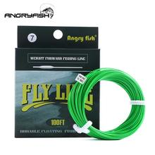 ANGRYFISH WF 5F/6F/7F 100FT Dloating Fly Fishing Line Weight Forward Floating Nylon Backing Line Tippet Tapered Leader Fishing Line