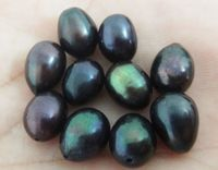 Nature 10pcs About 8x10MM Genuine Dark Black Drop Loose Pearl Half Drilled
