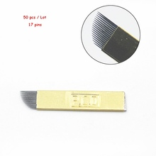 50PCS PCD 17 Pin Permanent Makeup Eyebrow Tatoo Blade Microblading Needles For 3D Embroidery Manual Tattoo Pen Machine