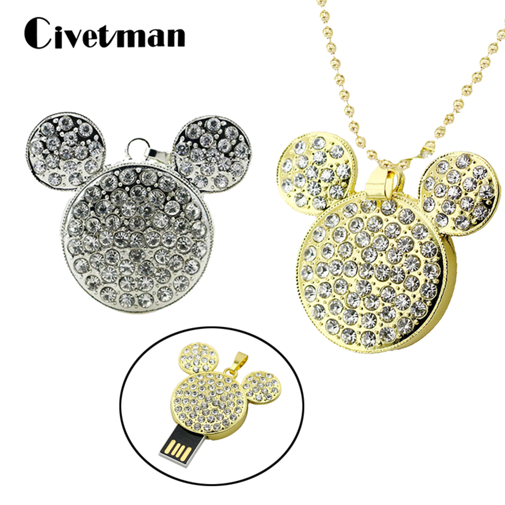 64GB Metal Mickey Mouse Pendrive 32GB USB Flash Drive 16GB 8GB Pen Drive Crystal Necklace Pendant Memorias USB Stick Thumb Drive