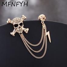 274d9e97ae35 MFNFYH Punk gótico cráneo de Broches de moda de joyería de tres capas borla  cadena de