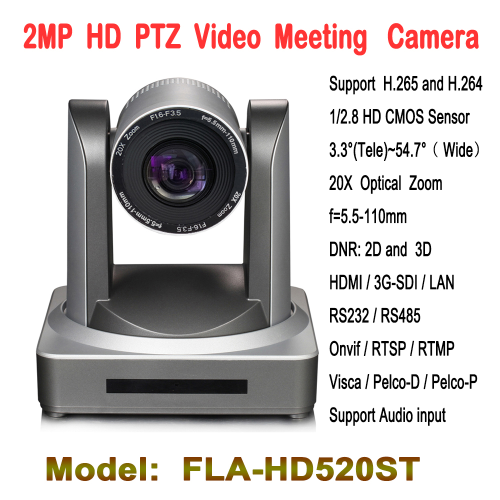 2.0 Megapixel 20x Zoom PTZ Kamera Konferensi Video HD-SDI IP HDMI Input audio Untuk Tele-education Church Telemedicine