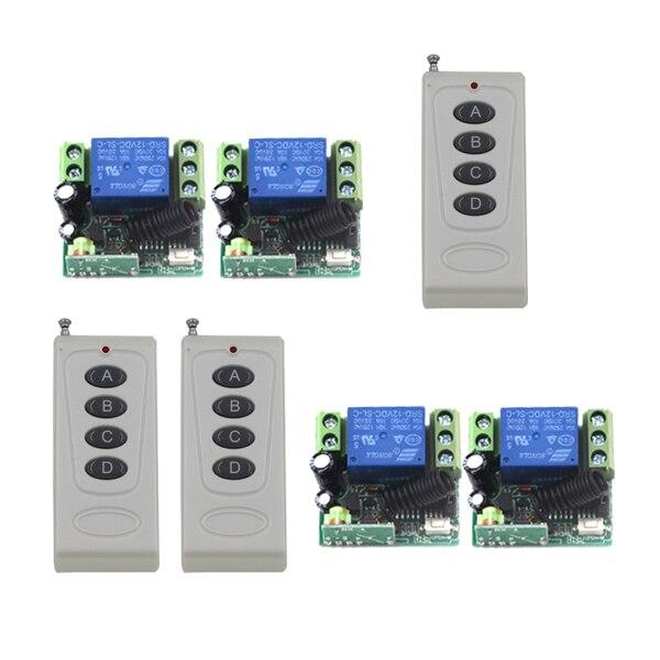 цена на MITI-Plastic Cover Case Relay DC 12V 10A 1CH RF Remote Control Switch with 3pcs White 4-Button Controller SKU: 5391