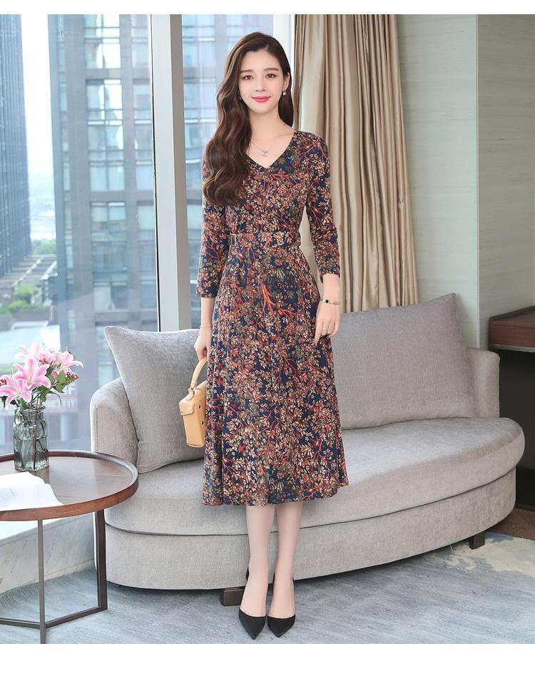 Autumn Winter New 3XL Plus Size Vintage Midi Dresses 2018 Women Elegant Bodycon Floral Dress Party Long Sleeve Runway Vestidos 36