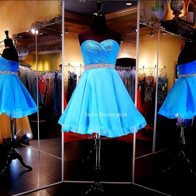 Fashionable Blue Chiffon Short Prom Dress 2016 Crystal Strapless Cocktail Dresses  Party Gowns Cheap Homecoming Dress DSC011 c4a9b6f5dfc4