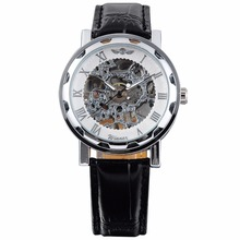 Luxury Retro Mens White Silver Skeleton Dial Black Leather Band Hand-Winding Mechanical Stainless Steel Case Wrist Watch/ PMW027