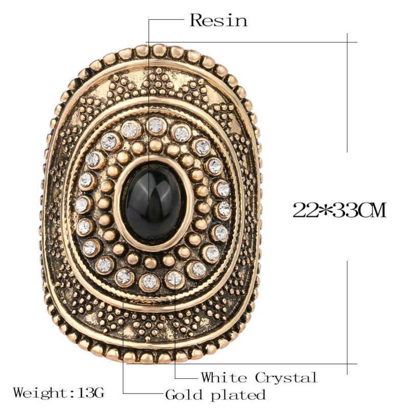 Nueva moda personalidad Vintage anillos de oro anillo grande ovalado Midi declaración joyería de cristal para mujeres yezzy boost 350
