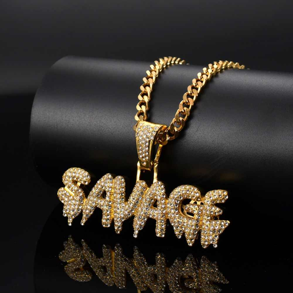 Men Hip hop iced out bling SAVAGE Letter Pendant with Stainless Steel cuban chain Charm pendants necklace HipHop jewelry gifts